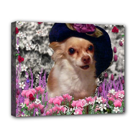 Chi Chi In Flowers, Chihuahua Puppy In Cute Hat Deluxe Canvas 20  X 16   by DianeClancy