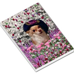 Chi Chi In Flowers, Chihuahua Puppy In Cute Hat Large Memo Pads by DianeClancy