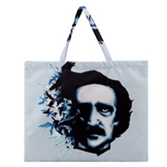 Edgar Allan Poe Crows Zipper Large Tote Bag by lvbart