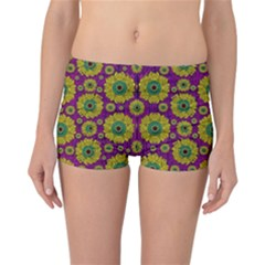 Sunroses Mixed With Stars In A Moonlight Serenade Reversible Boyleg Bikini Bottoms