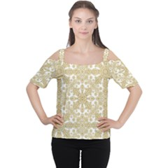 Golden Floral Boho Chic Women s Cutout Shoulder Tee by dflcprintsclothing