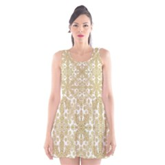 Golden Floral Boho Chic Scoop Neck Skater Dress by dflcprintsclothing