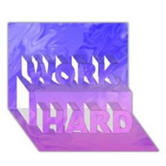 Ombre Purple Pink Work Hard 3d Greeting Card (7x5)  by BrightVibesDesign