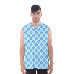 Pastel Turquoise Blue Retro Circles Men s Basketball Tank Top by BrightVibesDesign