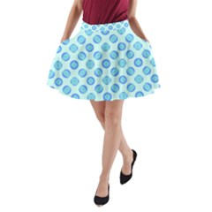 Pastel Turquoise Blue Retro Circles A Line Pocket Skirt by BrightVibesDesign