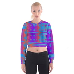 Triangles Gradient                                                               Women s Cropped Sweatshirt by LalyLauraFLM