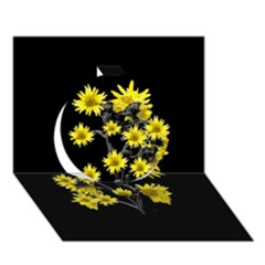 Sunflowers Over Black Circle 3d Greeting Card (7x5)