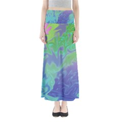 Green Blue Pink Color Splash Maxi Skirts by BrightVibesDesign