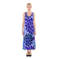 Azurite Blue Flowers Sleeveless Maxi Dress by KirstenStar