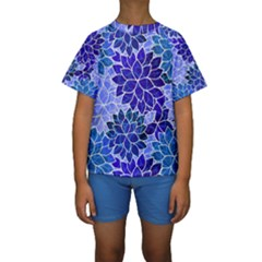 Azurite Blue Flowers Kid s Short Sleeve Swimwear by KirstenStar