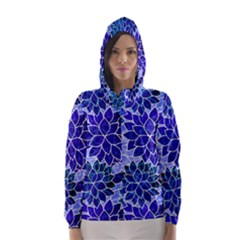 Azurite Blue Flowers Hooded Wind Breaker (women) by KirstenStar