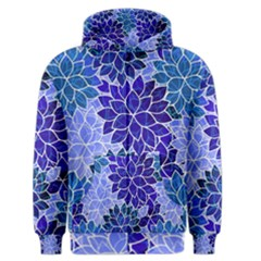 Azurite Blue Flowers Men s Zipper Hoodie by KirstenStar