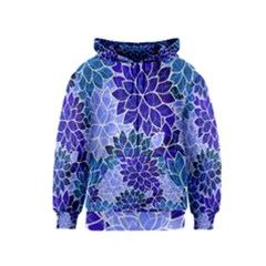 Azurite Blue Flowers Kids  Zipper Hoodie by KirstenStar