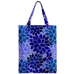 Azurite Blue Flowers Zipper Classic Tote Bag by KirstenStar