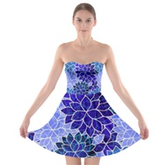 Azurite Blue Flowers Strapless Dresses by KirstenStar