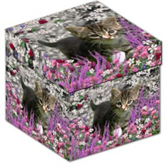 Emma In Flowers I, Little Gray Tabby Kitty Cat Storage Stool 12   by DianeClancy