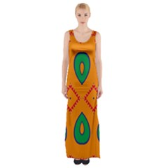 Rhombus And Leaves                                                                Maxi Thigh Split Dress by LalyLauraFLM