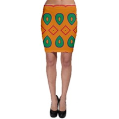 Rhombus And Leaves                                                                Bodycon Skirt by LalyLauraFLM