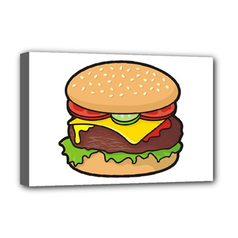 Cheeseburger Deluxe Canvas 18  X 12   by sifis