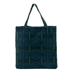 Dark Blue Teal Mod Circles Grocery Tote Bag by BrightVibesDesign