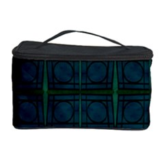 Dark Blue Teal Mod Circles Cosmetic Storage Case by BrightVibesDesign