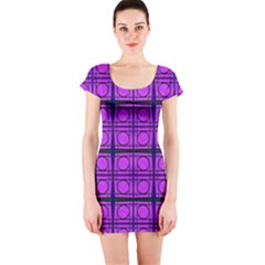 Bright Pink Mod Circles Short Sleeve Bodycon Dress by BrightVibesDesign