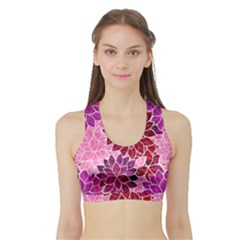 Rose Quartz Flowers Women s Sports Bra With Border by KirstenStar