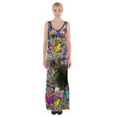 Emma In Butterflies I, Gray Tabby Kitten Maxi Thigh Split Dress