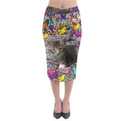 Emma In Butterflies I, Gray Tabby Kitten Midi Pencil Skirt