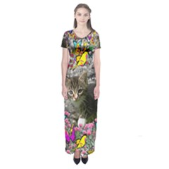Emma In Butterflies I, Gray Tabby Kitten Short Sleeve Maxi Dress