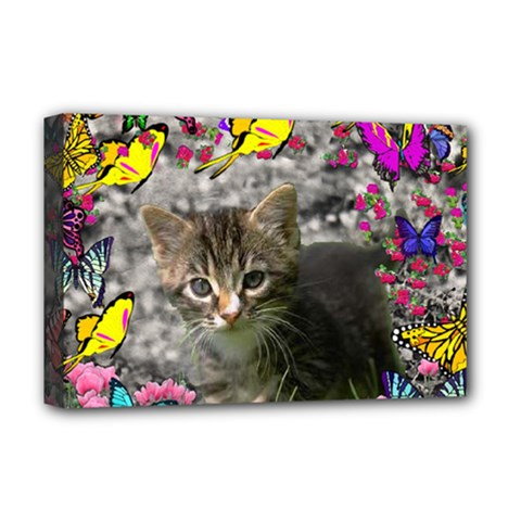 Emma In Butterflies I, Gray Tabby Kitten Deluxe Canvas 18  X 12   by DianeClancy