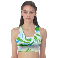 Tie Dye Green Blue Abstract Swirl Sports Bra by BrightVibesDesign