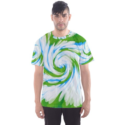Tie Dye Green Blue Abstract Swirl Men s Sport Mesh Tee by BrightVibesDesign