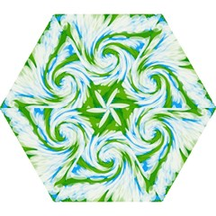Tie Dye Green Blue Abstract Swirl Mini Folding Umbrellas by BrightVibesDesign