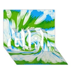 Tie Dye Green Blue Abstract Swirl Girl 3d Greeting Card (7x5)  by BrightVibesDesign