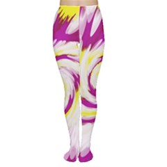 Tie Dye Pink Yellow Swirl Abstract Women s Tights by BrightVibesDesign
