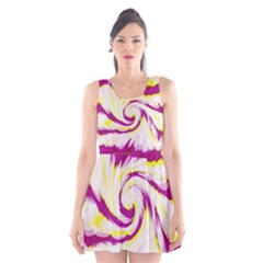 Tie Dye Pink Yellow Swirl Abstract Scoop Neck Skater Dress