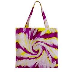 Tie Dye Pink Yellow Swirl Abstract Grocery Tote Bag by BrightVibesDesign