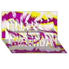 Tie Dye Pink Yellow Abstract Swirl Happy Birthday 3d Greeting Card (8x4)  by BrightVibesDesign