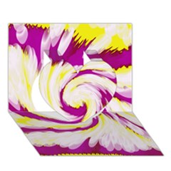 Tie Dye Pink Yellow Abstract Swirl Heart 3d Greeting Card (7x5)  by BrightVibesDesign