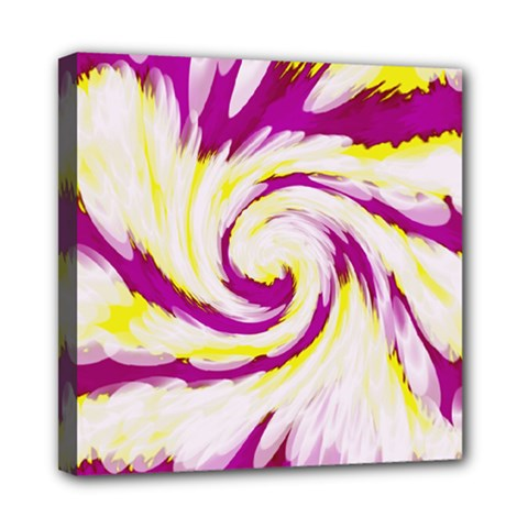 Tie Dye Pink Yellow Abstract Swirl Mini Canvas 8  X 8  by BrightVibesDesign