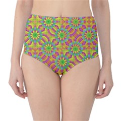 Modern Colorful Geometric High-waist Bikini Bottoms by dflcprintsclothing