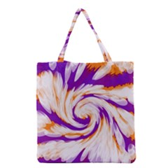 Tie Dye Purple Orange Abstract Swirl Grocery Tote Bag by BrightVibesDesign
