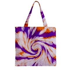 Tie Dye Purple Orange Abstract Swirl Zipper Grocery Tote Bag by BrightVibesDesign