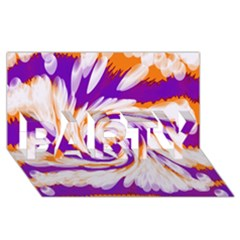 Tie Dye Purple Orange Abstract Swirl Party 3d Greeting Card (8x4)  by BrightVibesDesign