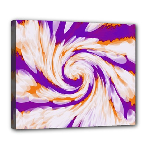 Tie Dye Purple Orange Abstract Swirl Deluxe Canvas 24  X 20   by BrightVibesDesign