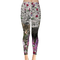 Emma In Flowers I, Little Gray Tabby Kitty Cat Leggings  by DianeClancy