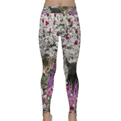 Emma In Flowers I, Little Gray Tabby Kitty Cat Yoga Leggings by DianeClancy