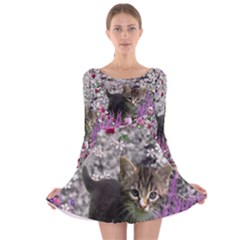 Emma In Flowers I, Little Gray Tabby Kitty Cat Long Sleeve Velvet Skater Dress by DianeClancy
