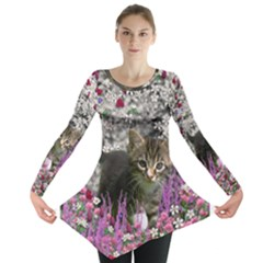 Emma In Flowers I, Little Gray Tabby Kitty Cat Long Sleeve Tunic  by DianeClancy